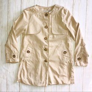 Zara Kids khaki button up coat girls 7/8